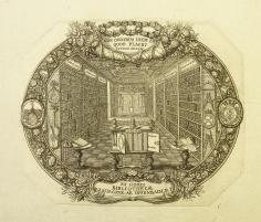 """Ex libris Bibliothecae D. Zach. Conr. ab Uffenbach. M. F."" Bookplate of Zacharias Konrad von Uffenbach (1683-1734) Engraved by Johann Ulrich Krauss of Augsburg c.1705"