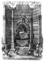 Exlibris of the Załuski Library showing the library's interior. Jan Józef Filipowicz. mid-18th century.