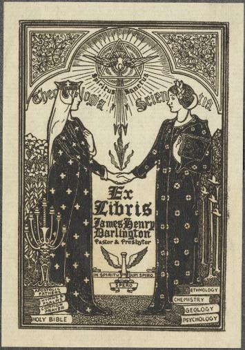 Theology & Science meet. By Louis Rhead, ca. 1907