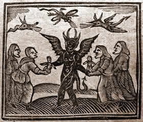 Depiction of the Devil giving magic puppets to witches, from Agnes Sampson trial, 1591.